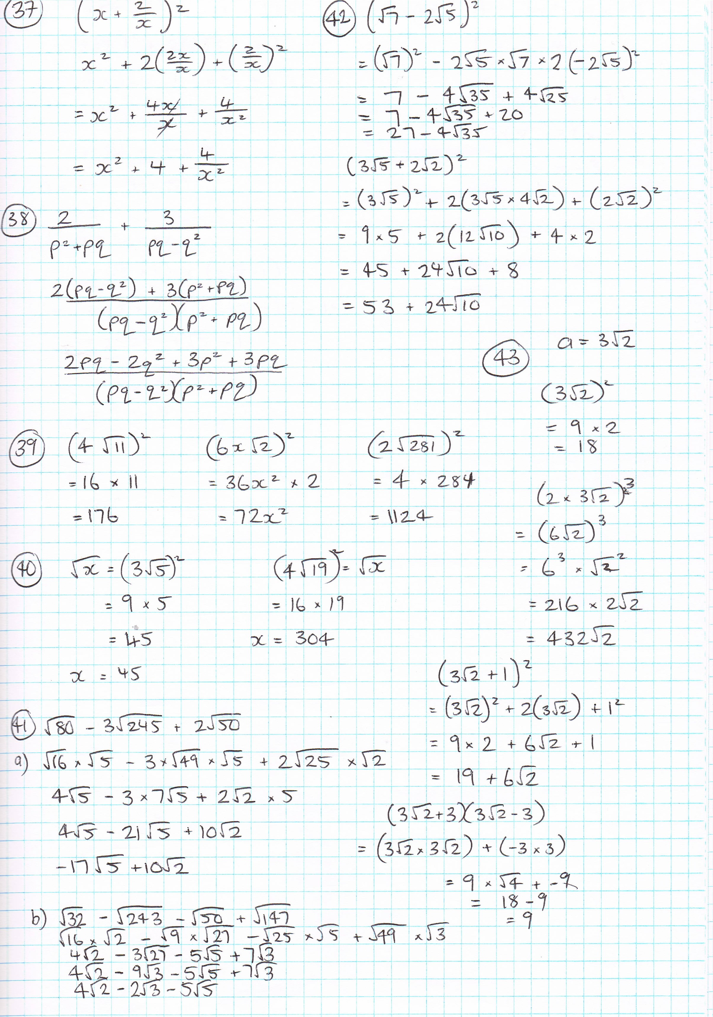 Algebra And Surds Answers Miss Sinclairs Year 11 Mathematics Blog